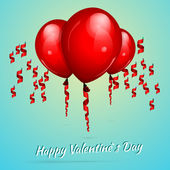 Fondo de san valentín con globos — Vector de stock
