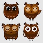 Vector set of cartoon owls. — Stock Vector