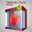 Vector illustration of pepper in packaged. — Vector de stock #19192061