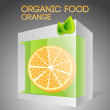 Vector illustration of orange in packaged. — Vector de stock #19192085
