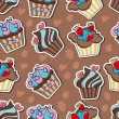 Vector background with delicious cupcakes. — Image vectorielle