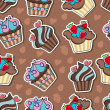 Vector background with delicious cupcakes. — Stock Vector