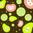 Stock Vector: Fruits Seamless Pattern