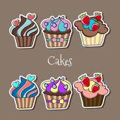 Vector set of delicious cupcakes. — Stock Vector
