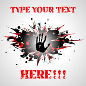 Dangerous background with hand print. — Stock Vector