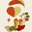 Illustration of house on Valentines Day — Imagen vectorial