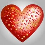 grand coeur vecteur, faite de petits coeurs — Vecteur