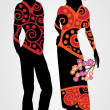 Couple with floral wreath — Stock vektor