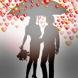 Couple under umbrella — Stock Vector