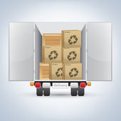 Delivery truck with boxes — Stock Vector