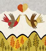 Vögel mit herz — Stockvektor