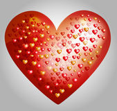 Vector big heart made from smaller hearts — Stock Vector