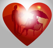 Illustration young couple on a bench in heart — Stock Vector