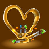 Cepillos en forma de corazón. — Vector de stock