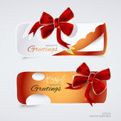 Greeting banners with red bows. — Vector de stock
