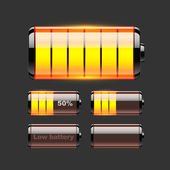 Vector set of battery charge. — Stockvektor