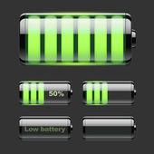 Vektor uppsättning batteriladdning. — Stockvektor