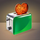 Tostadora con tostadas en forma de corazón. — Vector de stock