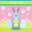 Happy easter card with bunny and eggs — Stock Vector