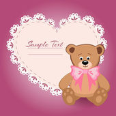 Teddy bear and big heart for Valentines Day — Stock Vector