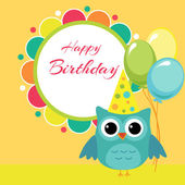 Vector birthday party card with owl — Stock Vector