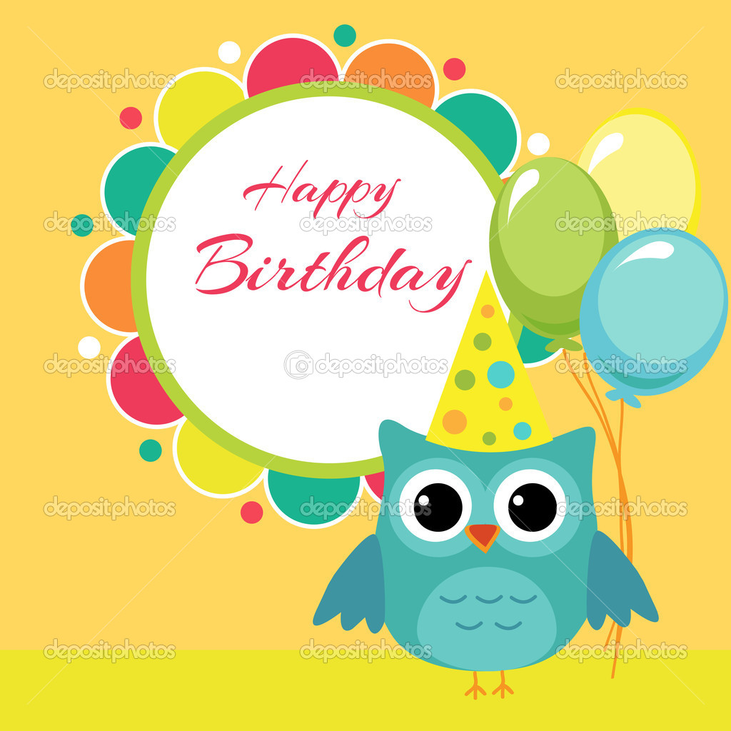 Vector birthday party card with owl stock illustration