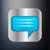 Metallic speech bubble icon. — Stock Vector