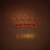 Vector leather background with crown — Stock Vector