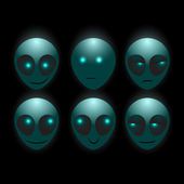 Set of vector alien faces — Stock Vector