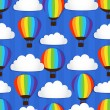 Seamless pattern with Hot Air Balloons in the sky — Stock vektor