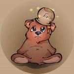Upset teddy bear with honey — Stock Vector #19795413