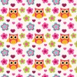 Stock Vector: Seamless colorful owl pattern