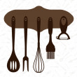 Vector set of kitchen tools — Imagen vectorial