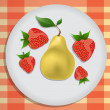 Pear and strawberry on a plate — Stock Vector