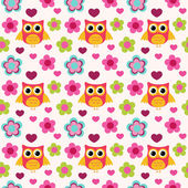 Seamless colorful owl pattern — Stockvektor