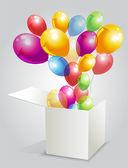 Gösterim amacıyla kutusunda balon kutlu — Stok Vektör