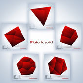 Red set of geometric shapes, platonic solids — Stock Vector