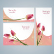 Brochure template cards with red tulips — Stock Vector