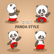 Stock Vector: Panda on a gray background. concept.