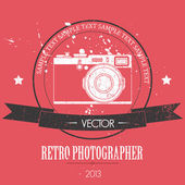 Retro camera with vintage background — Stock Vector