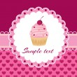 Vector background with cupcake and lace. — Stock Vector