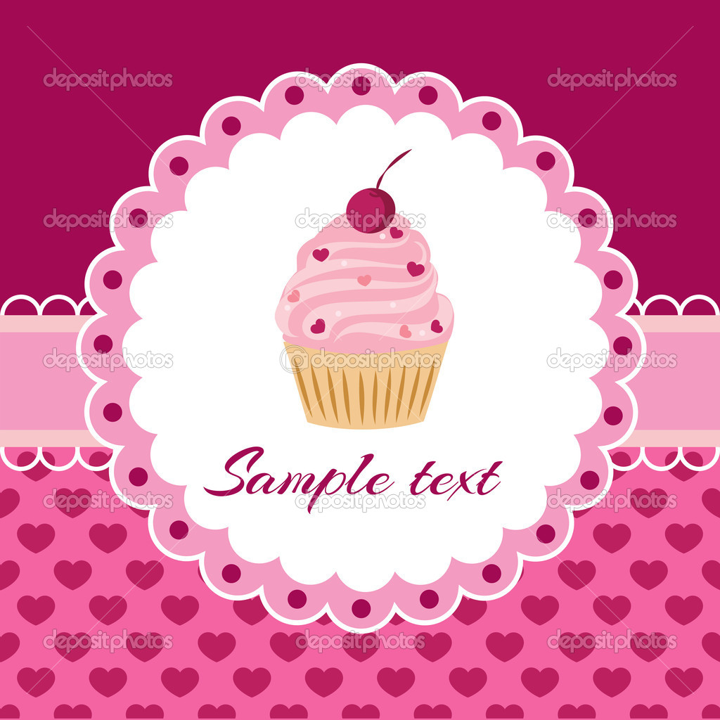 Vector background with cupcake and lace. — Stock Vector ...