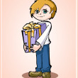 Stock Vector: Casual young boy standing with gift box