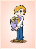 Casual young boy standing with gift box — Stock Vector