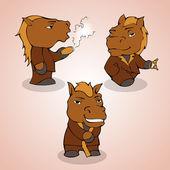 Ilustrace tří koní — Stock vektor