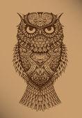 Kahverengi bir arka plan üzerinde baykuş — Stok Vektör