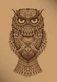 Owl on a brown background — Stok Vektör