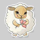 Sheep and a flower — Stock Vector