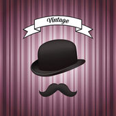 Hat and mustache — Stock Vector
