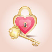 Gold key to heart — Stock Vector